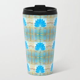 Art Deco Retro Lotus Pattern (sky blue) Travel Mug