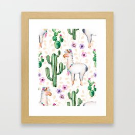 Cactus Flowers & Cute Lama pattern Illustration Framed Art Print
