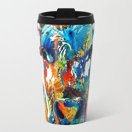 Colorful Cow Art - Mootown - By Sharon Cummings Travel Mug