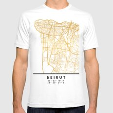 BEIRUT LEBANON CITY STREET MAP ART SMALL Mens Fitted Tee White