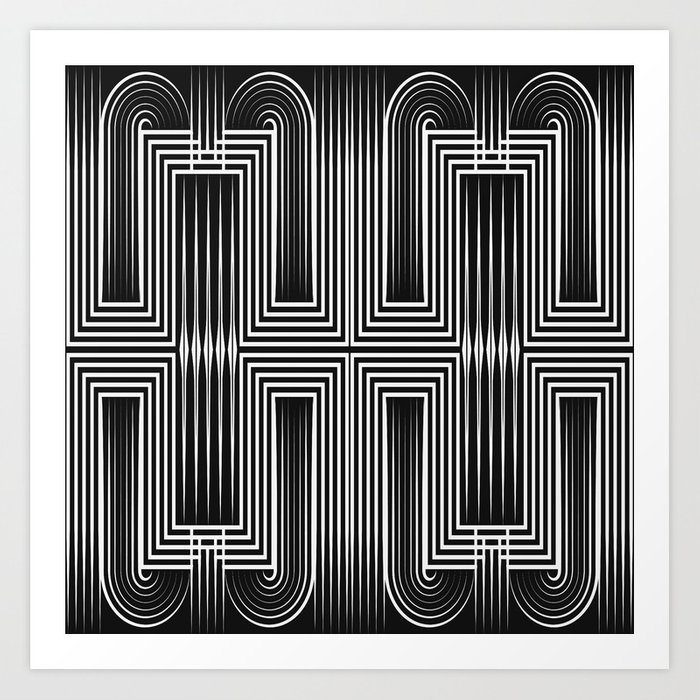 Art Deco 32 Graffiti Black And White Print