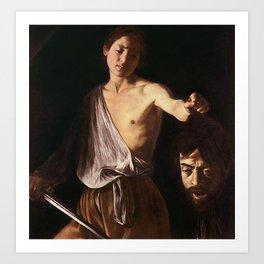 DAVID WITH THE HEAD OF GOLIATH - CARAVAGGIO  Art Print