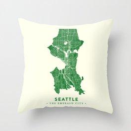 Seattle Map Throw Pillow