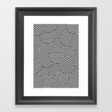 Striped Disc Pattern - Black and White Framed Art Print