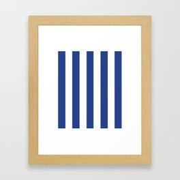 Dark cornflower blue - solid color - white vertical lines pattern Framed Art Print
