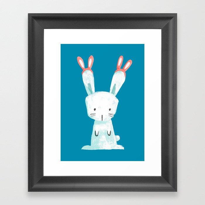 Four Eared Bunny Gerahmter Kunstdruck