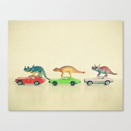 Dinosaurs Ride Cars Canvas Print