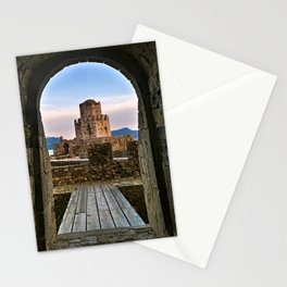 Entrance leading to impressive three-tiered fortified watchtower. Stationery Cards
