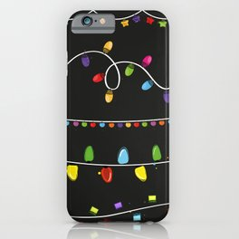 Light Bulbs Collection. Set of Christmas lights for Xmas holiday greeting card design black background iPhone Case