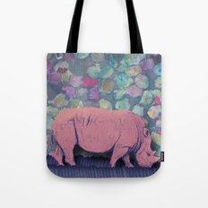 Pink Rhinoceros Collage Tote Bag
