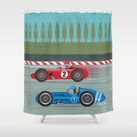 racing Shower Curtains featuring Retro Racing by We are three fish