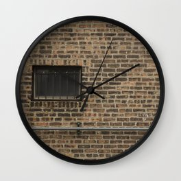 Brick Wall with Conduit and Window Wall Clock