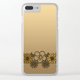 Kitschy Flower Medley Sepia Clear iPhone Case