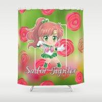 sailor jupiter Shower Curtains featuring Chibi Sailor Jupiter by Neo Crystal Tokyo