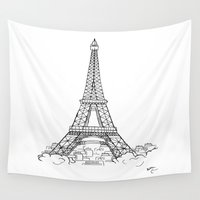 eiffel tower Wall Tapestries featuring EIFFEL TOWER by DMorrow Art