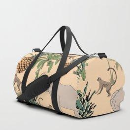 Tropical fruit and animal pattern elephants, monkeys, palm tree and pineapple Duffle Bag