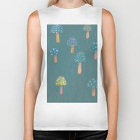 mushrooms Biker Tanks featuring Mushrooms by Sarah Underwood Illustration
