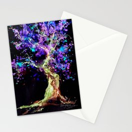 Wild Neon Apple Tree Watercolor by CheyAnne Sexton Stationery Cards
