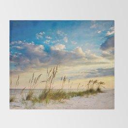 Sea Oats Beach Sunset Throw Blanket