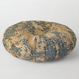 Vintage Golden Deer and Royal Crest Design (1501) Floor Pillow
