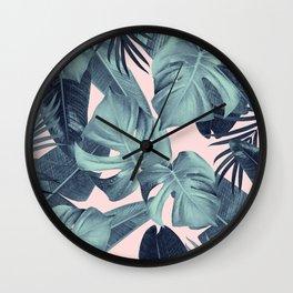 Tropical Summer Jungle Leaves Dream #3 #tropical #decor #art #society6 Wall Clock