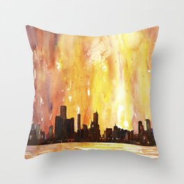Watercolor painting of downtown Chicago skyline as viewed from Lake Michigan- Chicago, Illinois (USA Throw Pillow