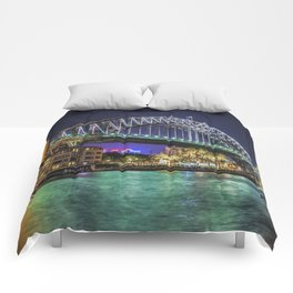 Sydney Harbor Bridge at Night Comforters