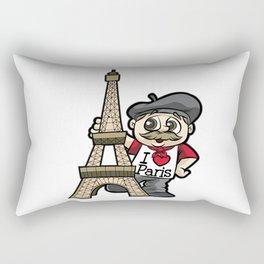 I LOVE PARIS France French Guy Eiffel Tower Gift Rectangular Pillow