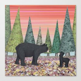 black bears & evergreens Canvas Print