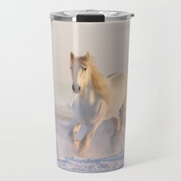 Beautiful White Horse Galloping in the Snow Travel Mug