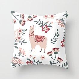 Pink Llama Throw Pillow