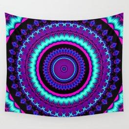 turquoise purple Mandala Wall Tapestry