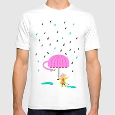 one of the many uses of a flamingo - umbrella MEDIUM Mens Fitted Tee White