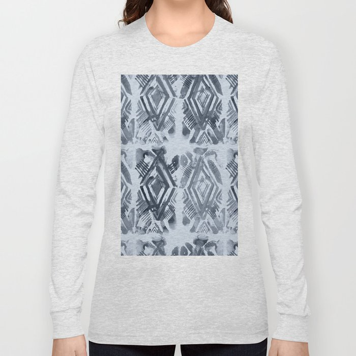 Simply Ikat Ink in Indigo Blue on Sky Blue Long Sleeve T-shirt