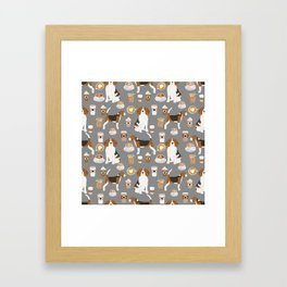 Beagles Coffee print cute dog beagle fabric pillow iphone case Framed Art Print