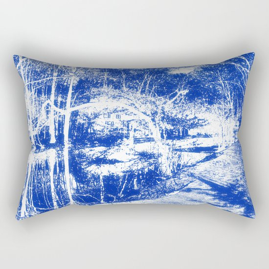 Looking in the water mirror-blue Rectangular Pillow
