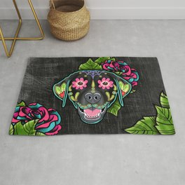 Labrador Retriever - Black Lab - Day of the Dead Sugar Skull Dog Rug
