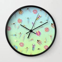 summer swim / pool pattern Wall Clock