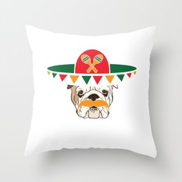 Cinco De Mayo Bulldog With Sombrero Mustache Funny Cool Gift Throw Pillow
