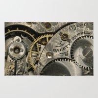 clockwork Area & Throw Rugs featuring Clockwork Homage by DebS Digs Photo Art
