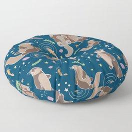 Sea Otters at Night Floor Pillow