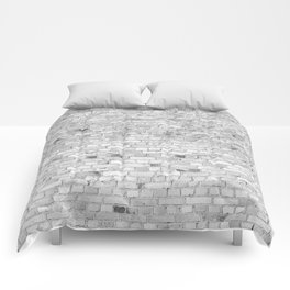 White Washed Brick Wall - Light White and Grey Wash Stone Brick Comforters