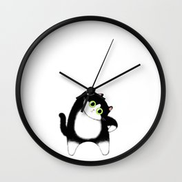 Fat tuxedo cat / Illustration Wall Clock