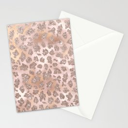 Rosegold Blush Leopard Glitter   Stationery Cards