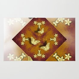 Gold butterflies and flowers on copper mandala Rug