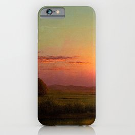Pink Sunset over Scituate, Rhode Island Marches Landscape by Martin Johnson Heade iPhone Case