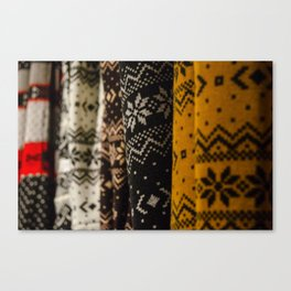 Woolen fabrics with traditional icelandic patterns Canvas Print