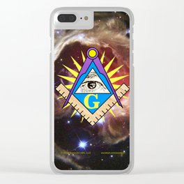 Masonic Square & Compass with Red Star Background Clear iPhone Case