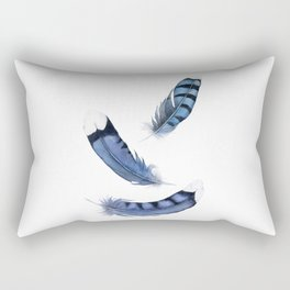 Falling Feather, Blue Jay Feather, Blue Feather watercolor painting by Suisai Genki Rectangular Pillow