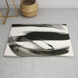 Brushstroke 9: a bold, minimal, black and white abstract piece Rug